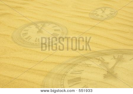 Eternity Background Clock Faces Dissolving In Sand