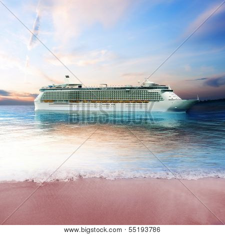 Cruise ship just off the coast of an island