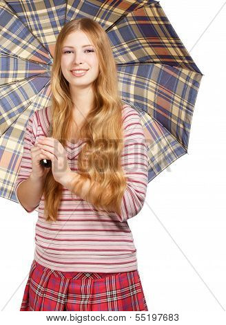 Smiling Woman With Chequered Umbrella
