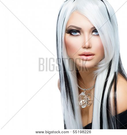 Beauty Fashion Girl black and white style. Long White Hair with Black Stripes. Smoky Eyes Makeup. Sexy Woman Portrait