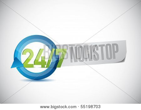 24 7 Nonstop Sign Illustration Design