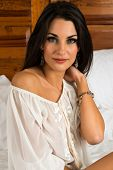 picture of blouse  - Beautiful Czech brunette in a sheer blouse - JPG