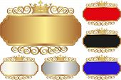 stock photo of crown  - set of isolated banners with crown   - JPG