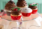 decorative Christmas cupcake on plate