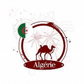 foto of algiers  - vector stamp Algeria with camel and flag - JPG