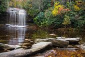 stock photo of asheville  - Schoolhouse Falls in Panthertown Valley in western North Carolina - JPG