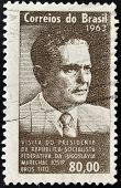 A stamp printed in Brazil shows the portrait of a Josip Brozl Tito