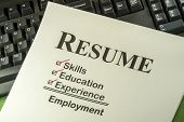 stock photo of candid  - Successful Candidate Resume Requires Skills Education And Experience To Find Employment - JPG
