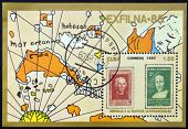 Stamp printed in Cuba in honor of Latin American philately