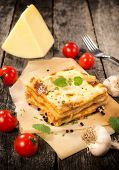 image of lasagna  - Italian traditional lasagna on the table - JPG