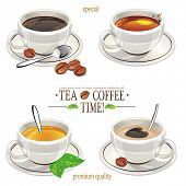 Four cups with tea, coffee and cappuccino cups. Vector illustration