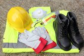 stock photo of work boots  - A collection of Personal protection equipment that is available - JPG