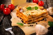 image of lasagna  - Traditional Italian lasagna with beef meat - JPG