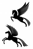stock photo of pegasus  - Pegasus winged horses isolated on white background for heraldry design - JPG