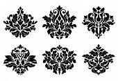 picture of damask  - Decorative floral elements and embellishments in damask vintage style for design - JPG