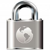 stock photo of pick-lock  - Earth or globe icon on secure vector lock button - JPG