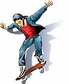picture of skateboarding  - Illustration with young man on the skateboard drawn in sketch style - JPG