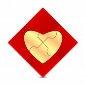 Puzzle With The Image Of A Gold Heart On A Red Background.illustration Of Valentine's Day.puzzle Gam