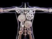 stock photo of interlock  - Male human xray with internal gears on a black background - JPG