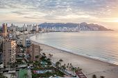 stock photo of costa blanca  - Benidorm on sunrise - JPG