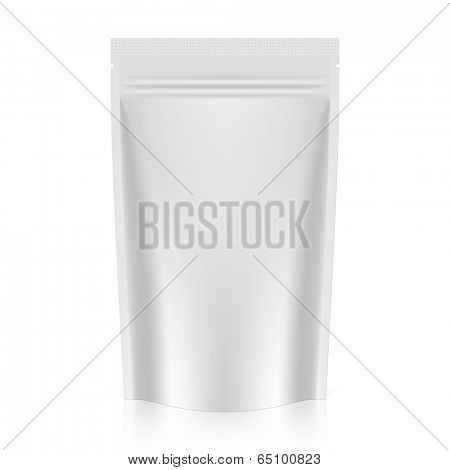 White blank stand up pouch foil packaging with zipper. Vector.