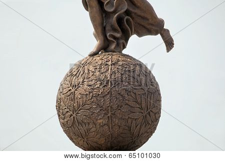 Detail of monument to goddess of victory Nike.