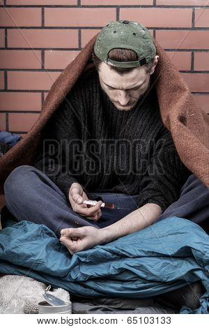 Homeless Man Addicted To Drugs
