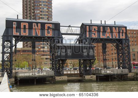 Historic steel railroad gantries at Hunters Point in Long Island City, Queens