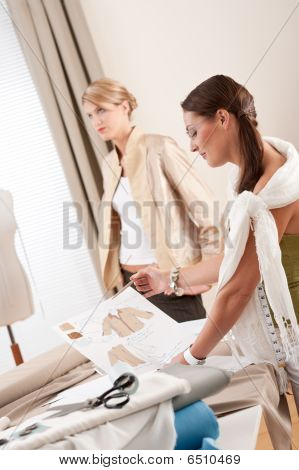 Fashion Model Fitting Clothes By Professional Designer