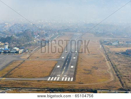 Aerial view of Pokhara airport in Nepal