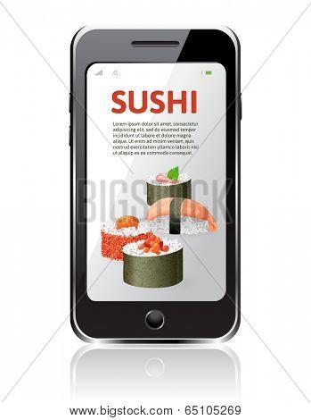 sushi advertising on mobile phone