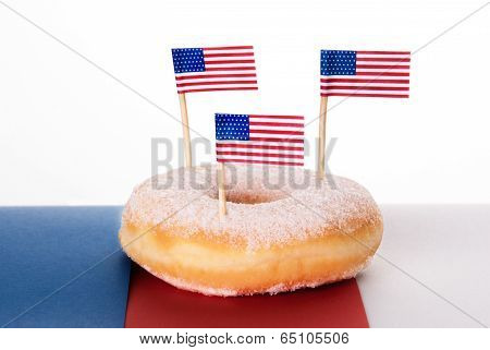 Donut With American Flags