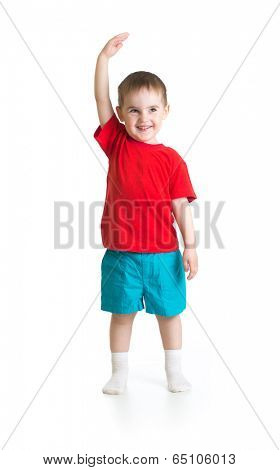 Kid boy growing. Isolated on white studio shot.