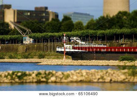 Rhein river Cargo ship near Dusseldorf Landtag