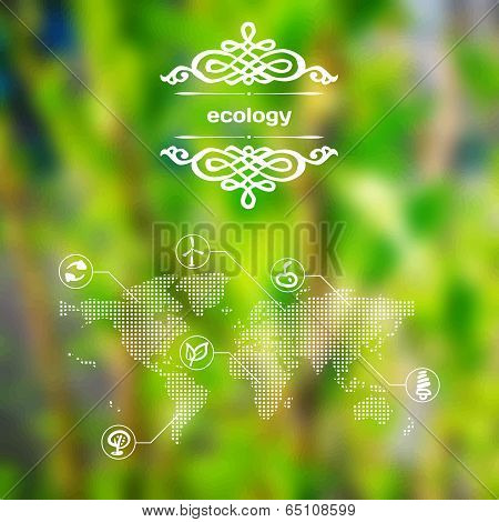 Vector Mobile And Web Interface With Ecology Icons
