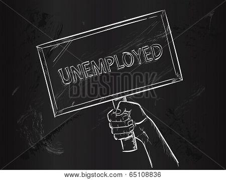 Unemployed Sketch on Blackboard