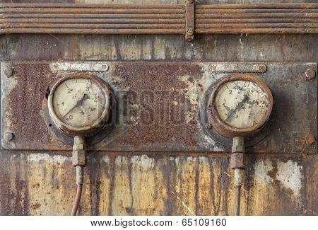 Clock Meters Of An Old Diesel Engine