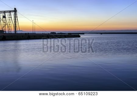 Port At Dawn Under Blue Sky