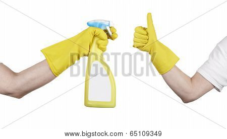Hand With Yellow Cleaning Product Glove Showing Thumb Up