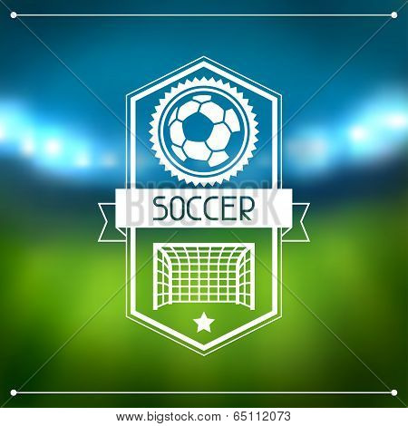 Sports background with soccer stadium and labels.