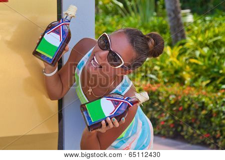 Woman In Vacation With Souvenirs