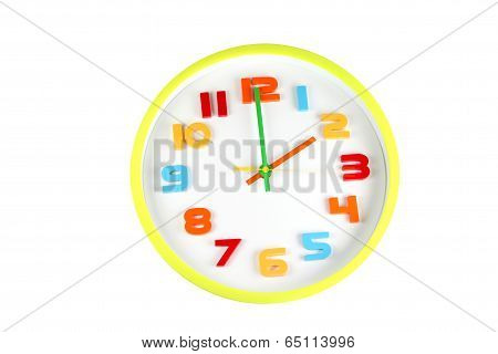 Colorful Clock In Telling Time Of Two O'clock.