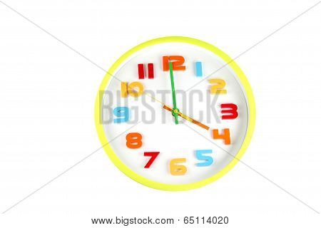 Colorful Clock In Telling Time Of Four O'clock.