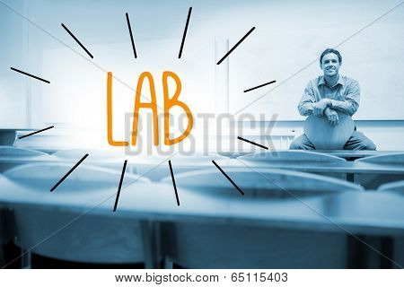 The word lab against lecturer sitting in lecture hall