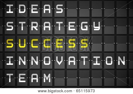 Success buzzwords on digitally generated black mechanical board