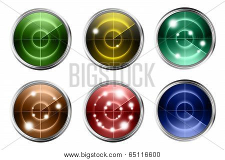 Colorful Radars Isolated