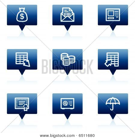 Banking web icons, blue speech bubbles series
