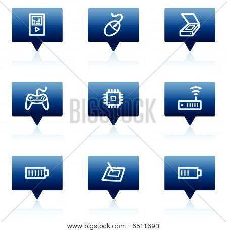 Electronics web icons set 2, blue speech bubbles series