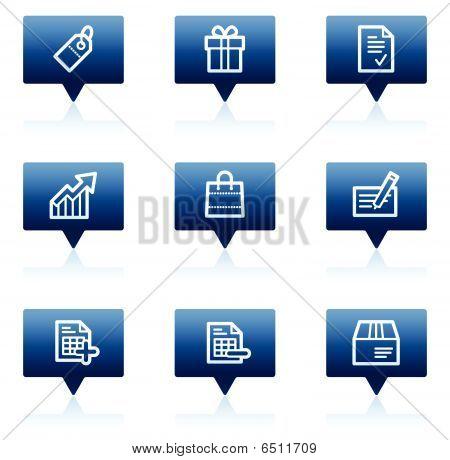 Shopping web icons, blue speech bubbles series