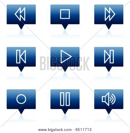 Walkman web icons, blue speech bubbles series